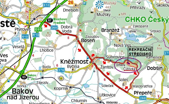 Mapa příjezd k rekreačnímu středisku
